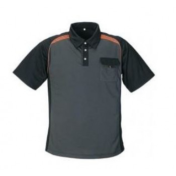 POLO-SHIRT ANTRACIET/ZWART/ORANJE