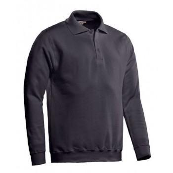 ROBIN SANTINO POLOSWEATER DONKER GRIJS